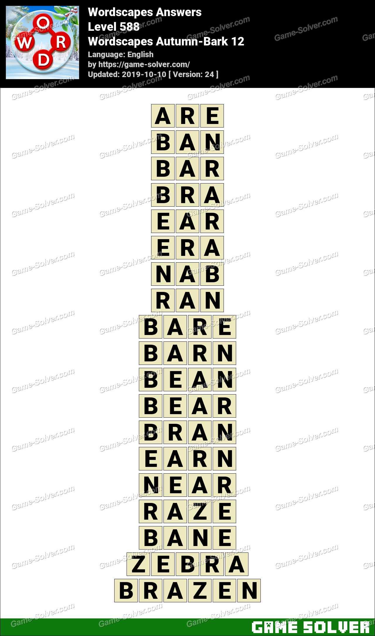 Wordscapes Autumn-Bark 12 Answers