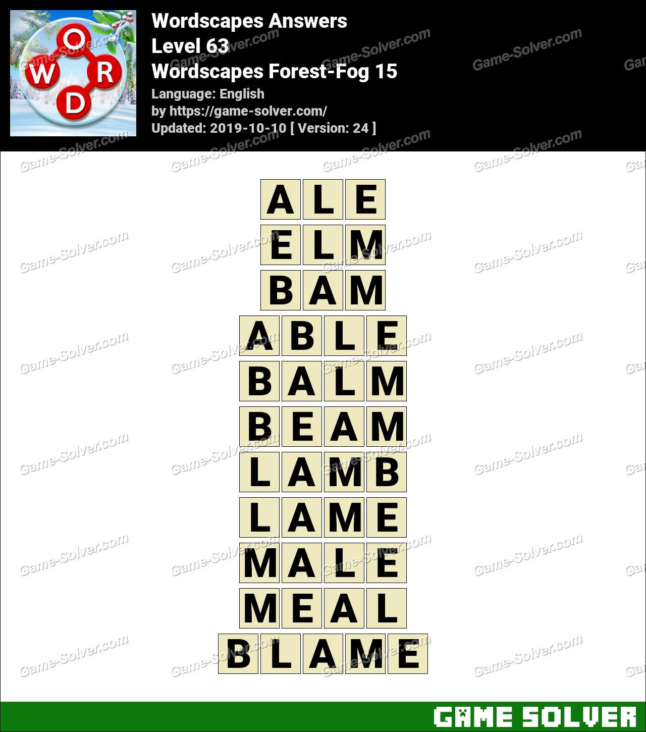 Wordscapes Forest-Fog 15 Answers