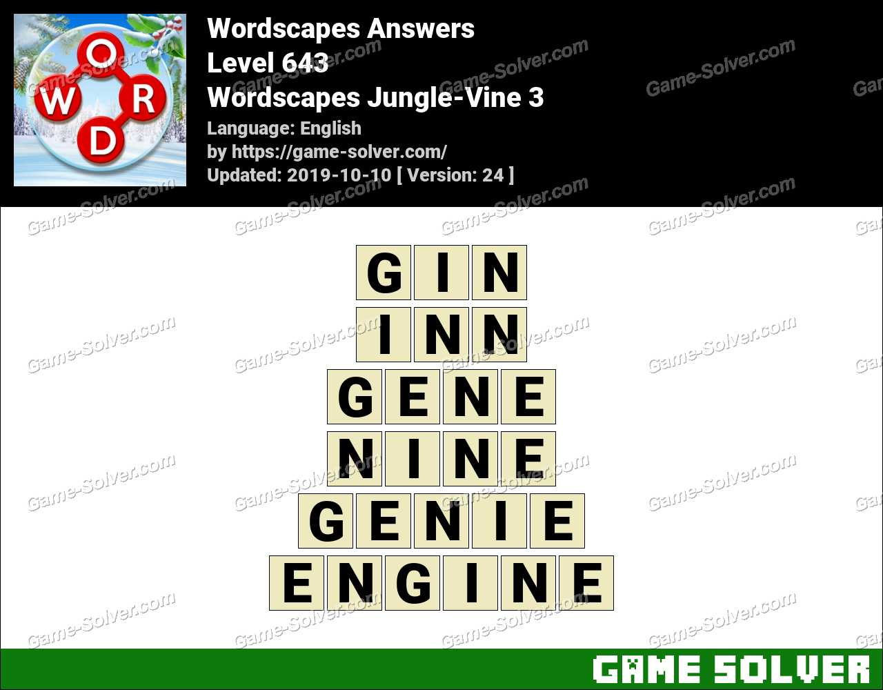 Wordscapes Jungle-Vine 3 Answers