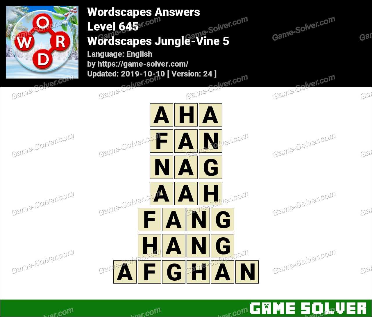 Wordscapes Jungle-Vine 5 Answers