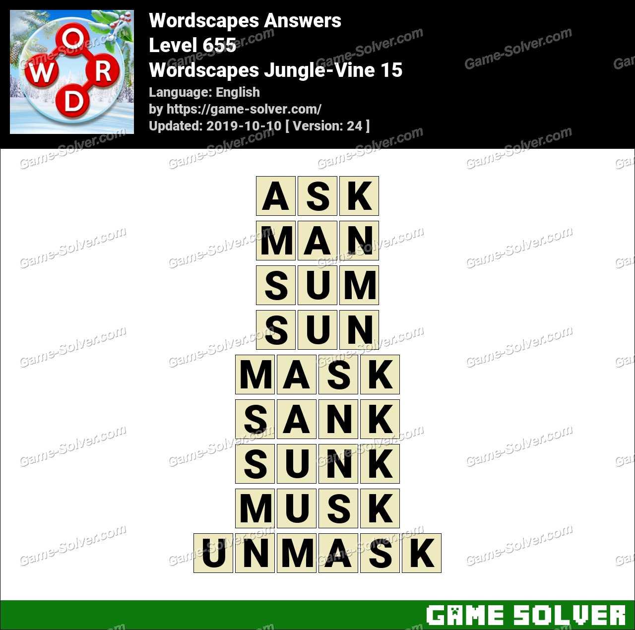 Wordscapes Jungle-Vine 15 Answers