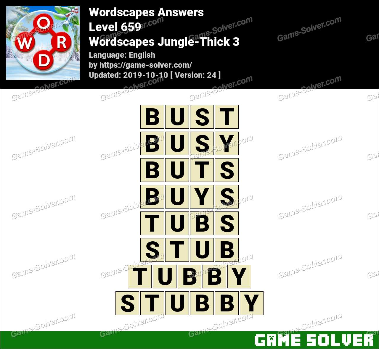 Wordscapes Jungle-Thick 3 Answers