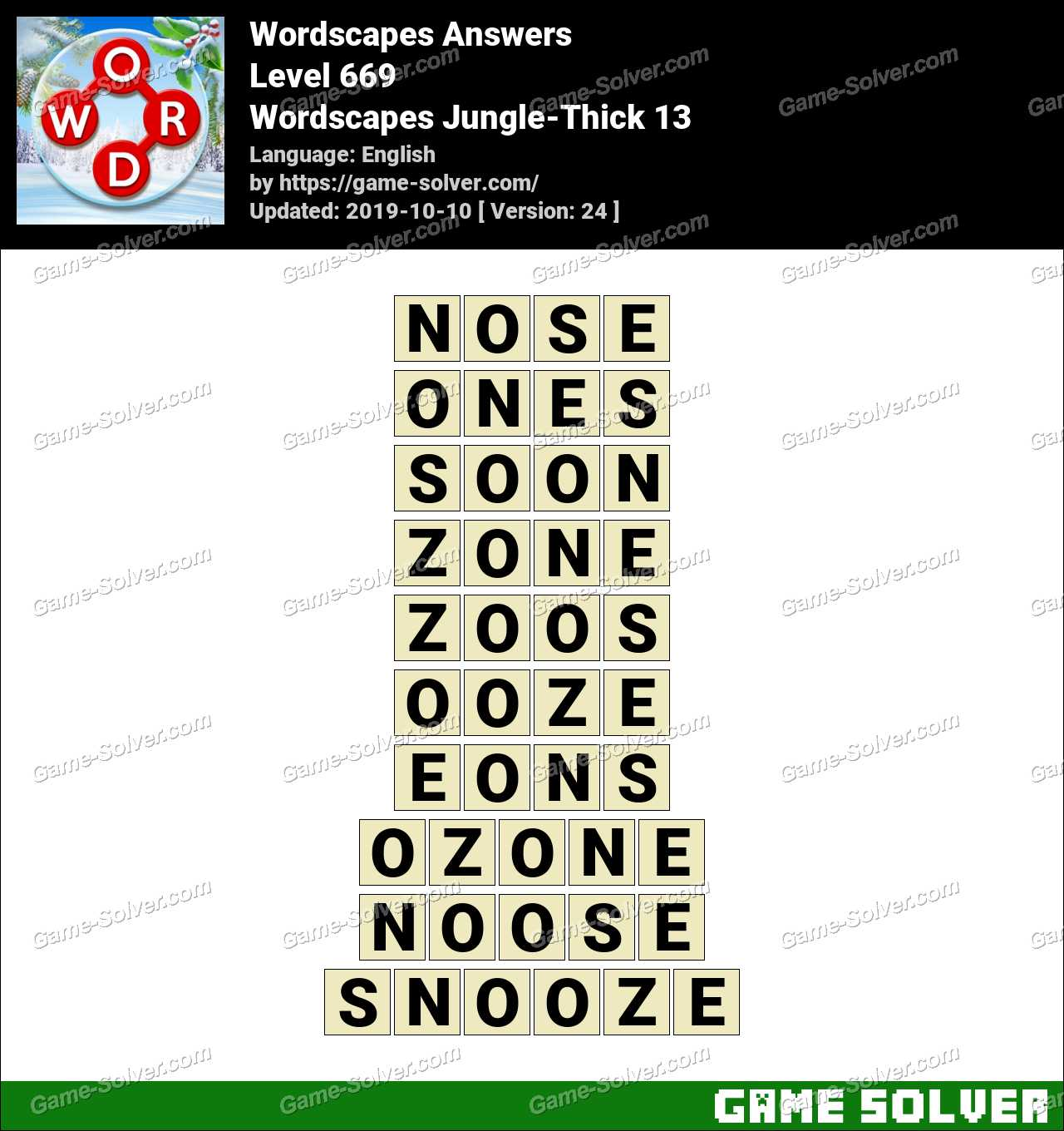 Wordscapes Jungle-Thick 13 Answers
