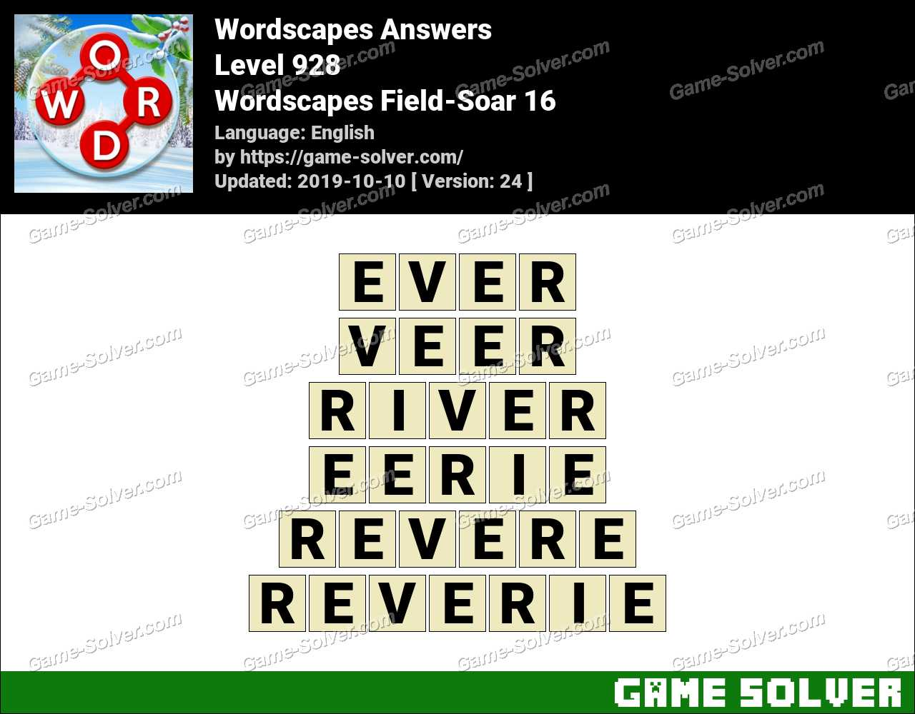 Wordscapes Field-Soar 16 Answers