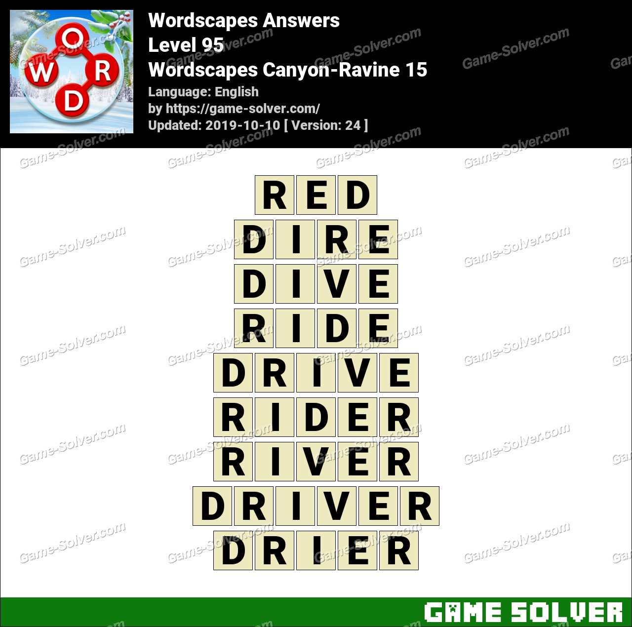 Wordscapes Canyon-Ravine 15 Answers
