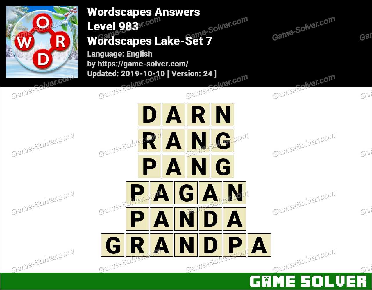 Wordscapes Lake-Set 7 Answers