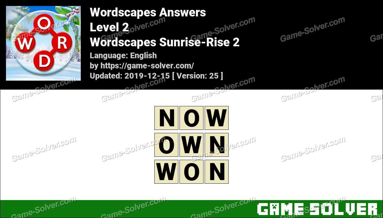 Wordscapes Sunrise-Rise 2 Answers