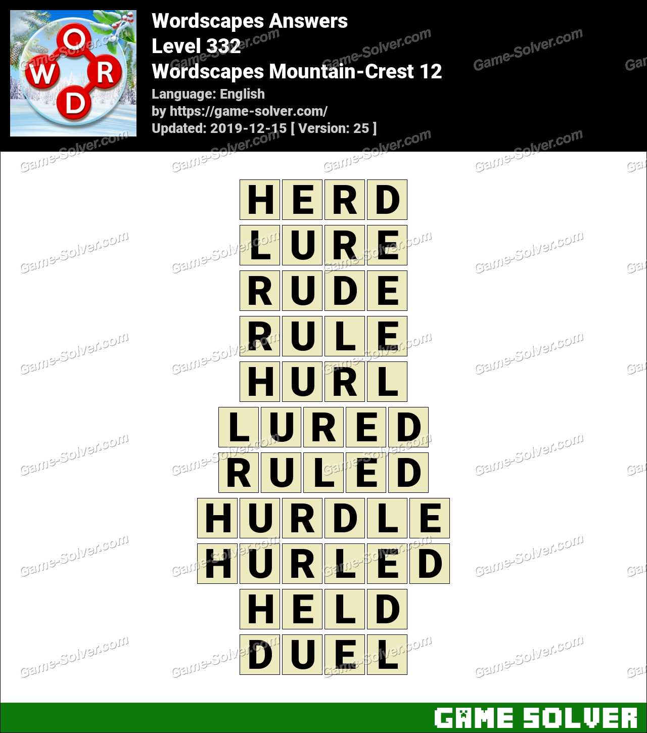 Wordscapes Mountain-Crest 12 Answers