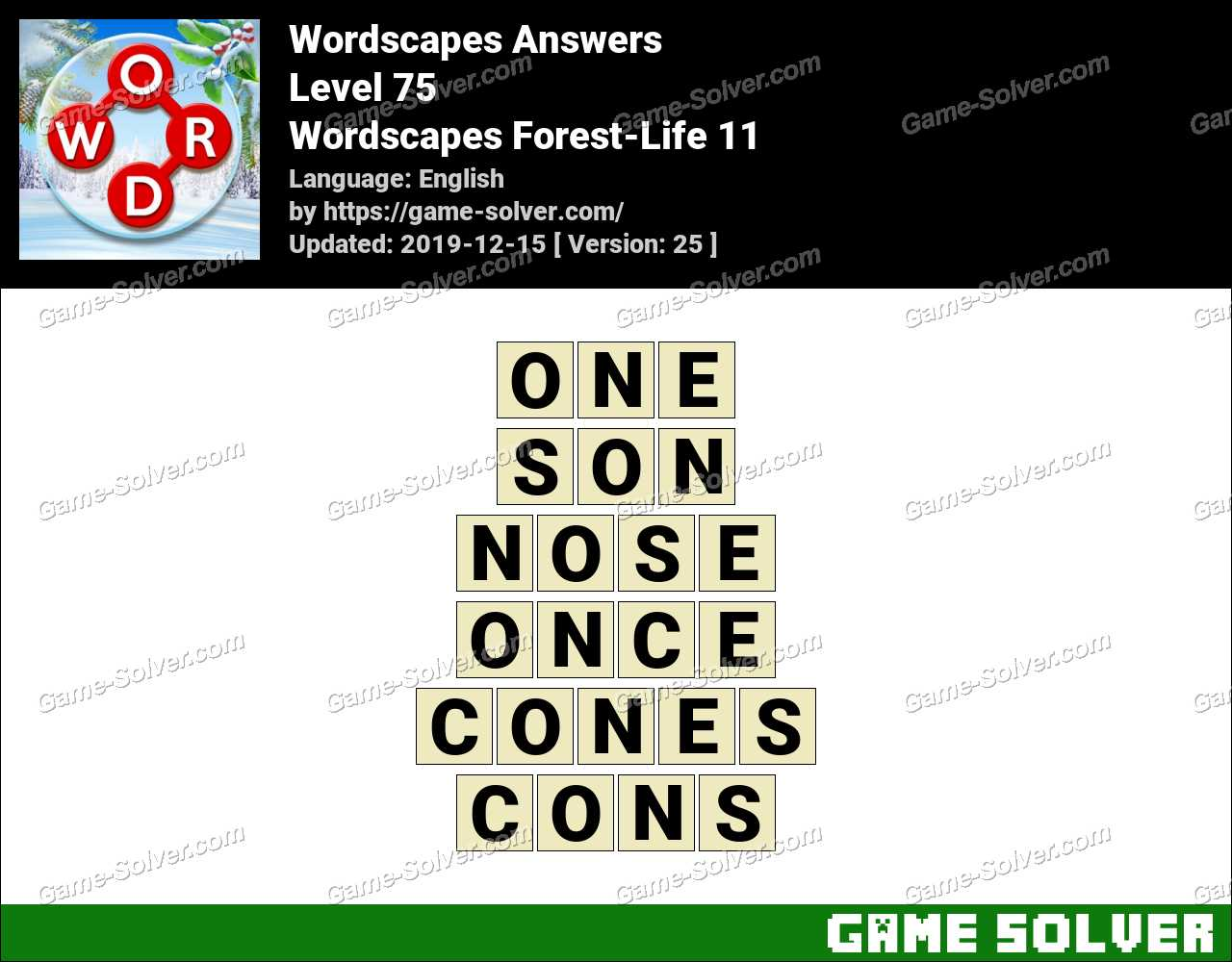 Wordscapes Forest-Life 11 Answers