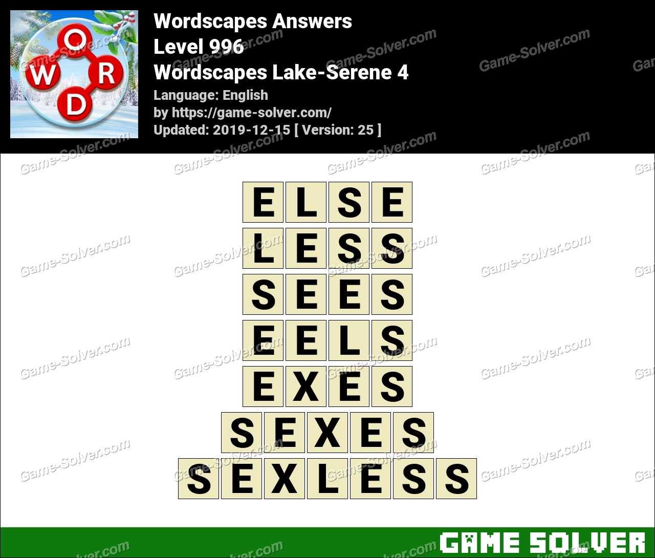 Wordscapes Lake-Serene 4 Answers