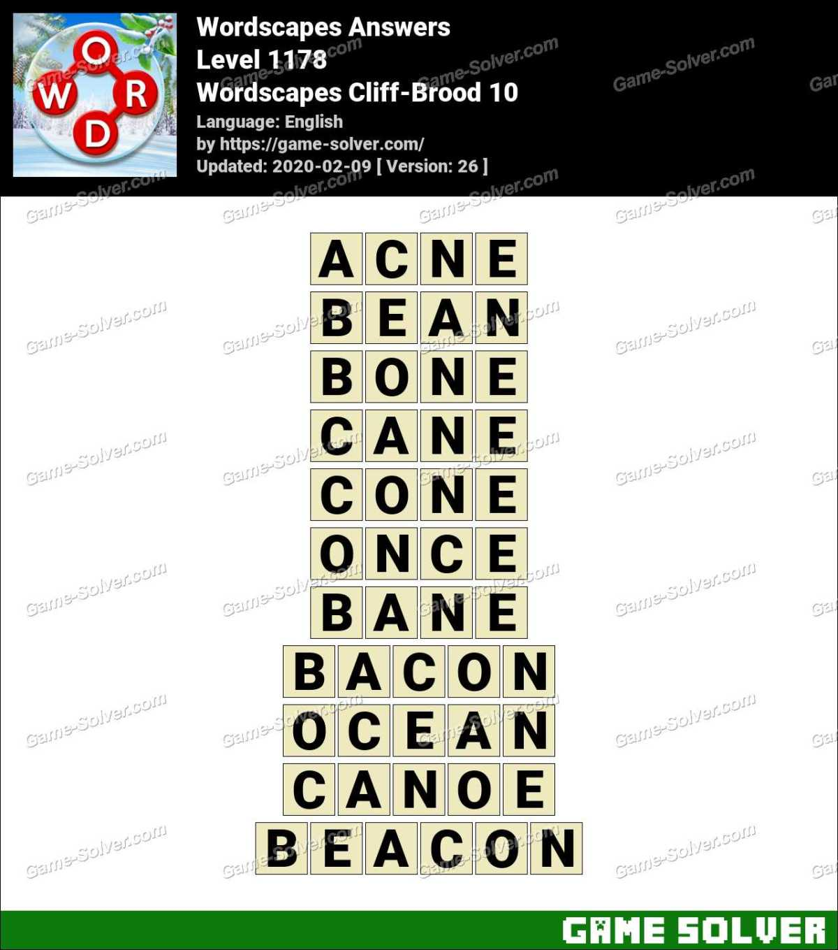 Wordscapes Cliff-Brood 10 Answers