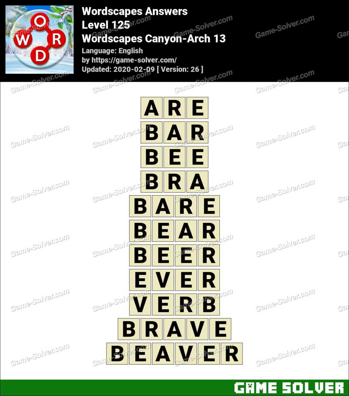 Wordscapes Canyon-Arch 13 Answers