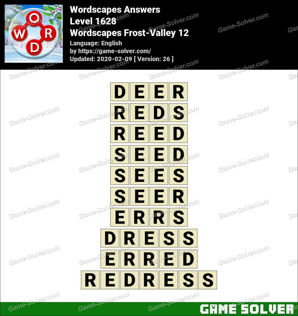 Wordscapes Frost-Valley 12 Answers
