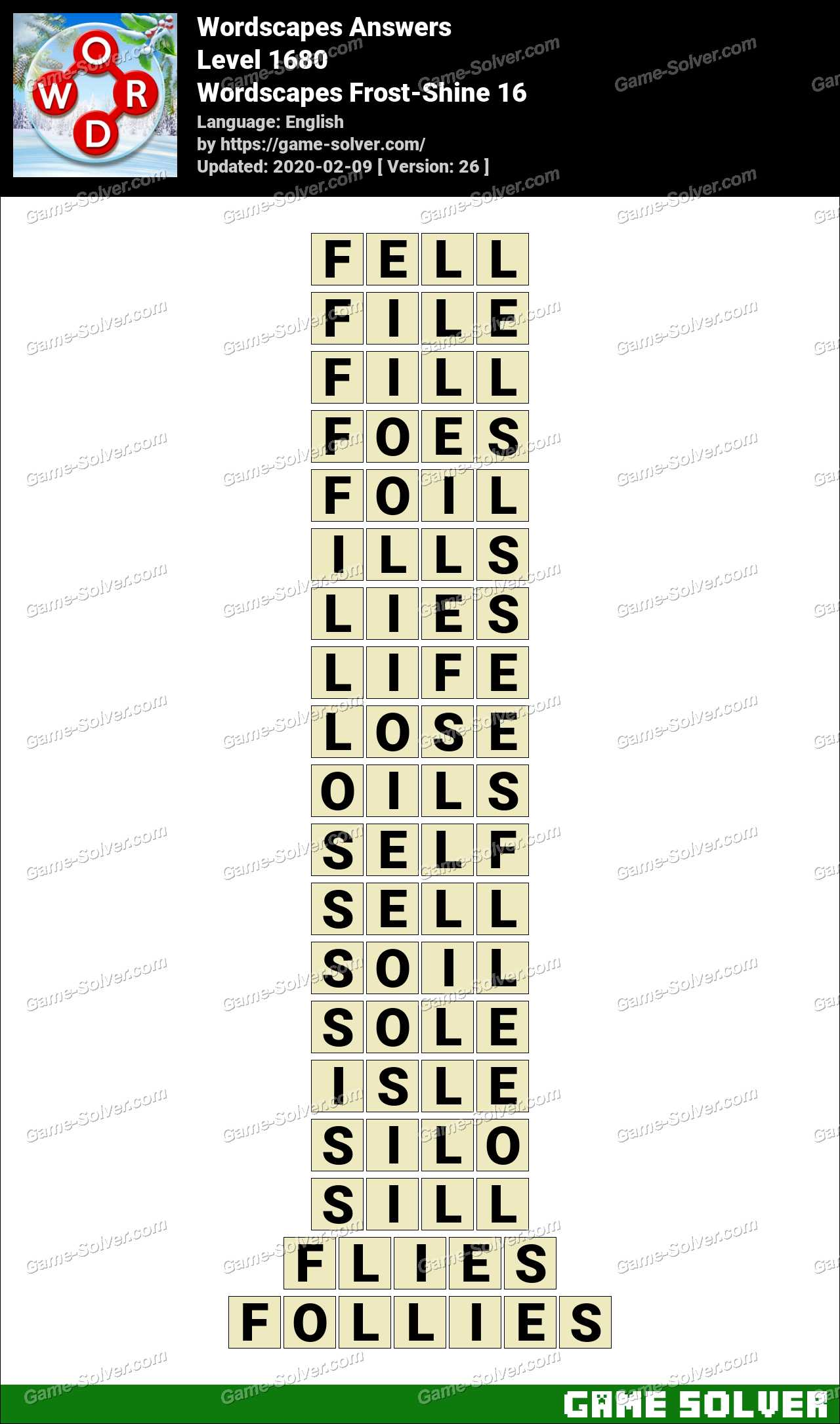 Wordscapes Frost-Shine 16 Answers