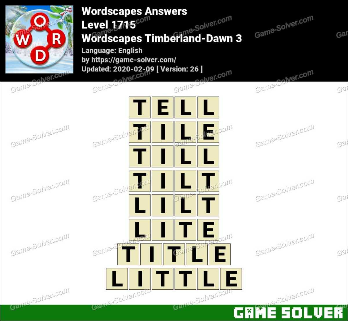 Wordscapes Timberland-Dawn 3 Answers