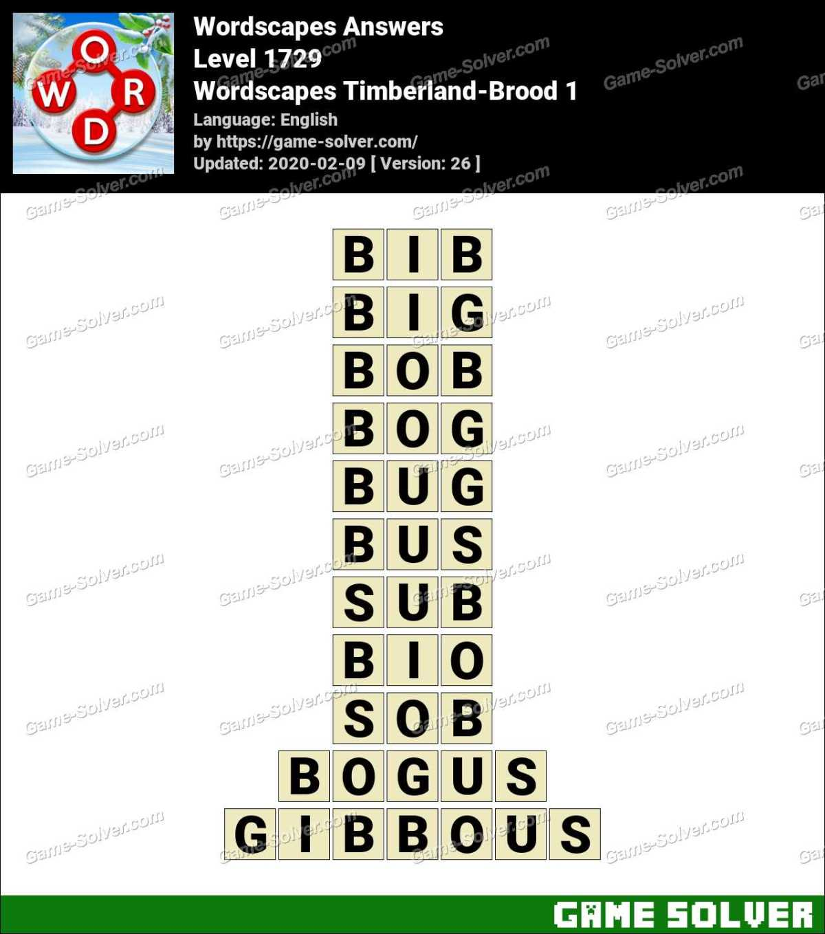 Wordscapes Timberland-Brood 1 Answers
