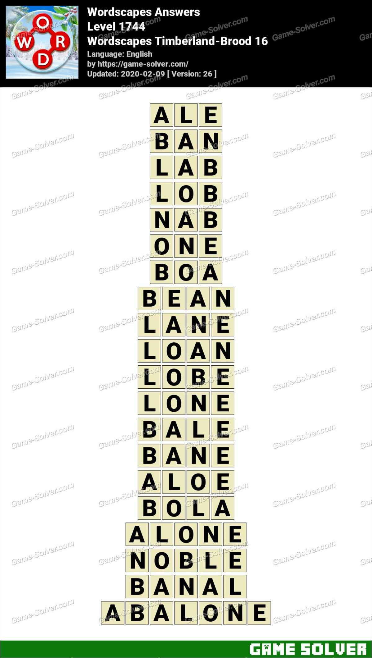 Wordscapes Timberland-Brood 16 Answers