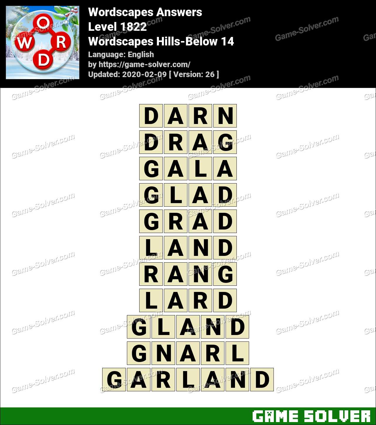Wordscapes Hills-Below 14 Answers