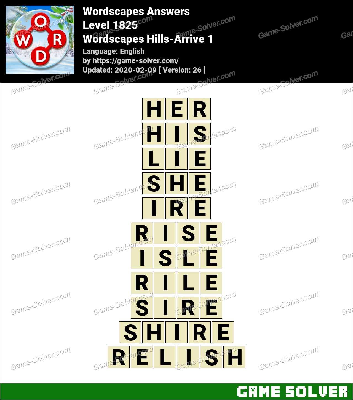Wordscapes Hills-Arrive 1 Answers