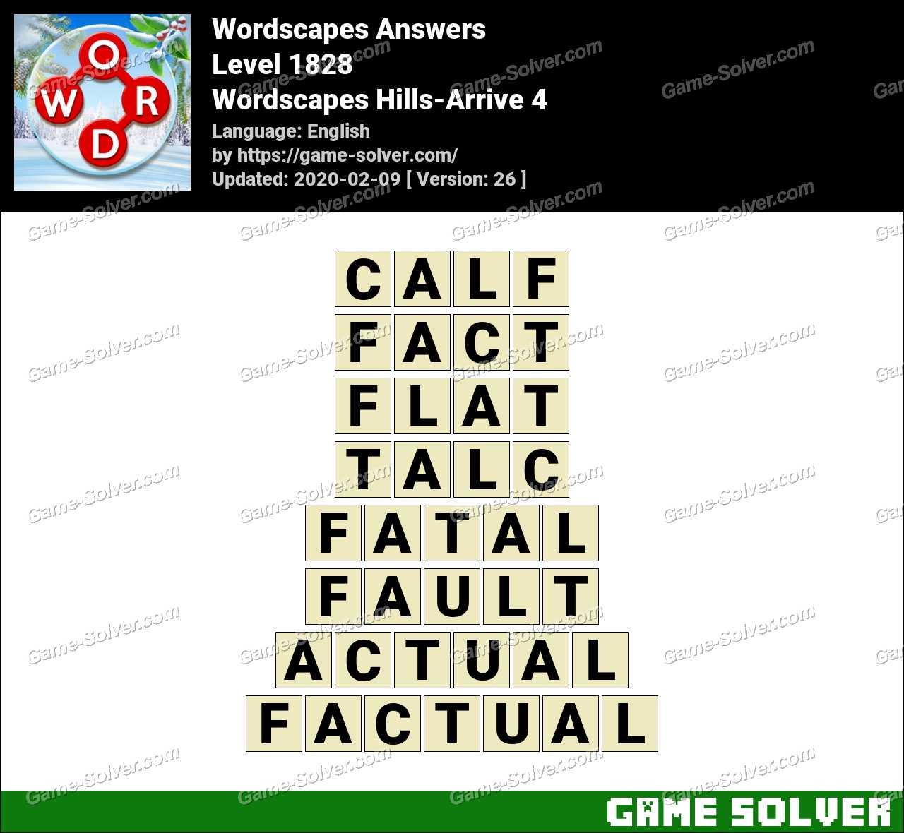 Wordscapes Hills-Arrive 4 Answers