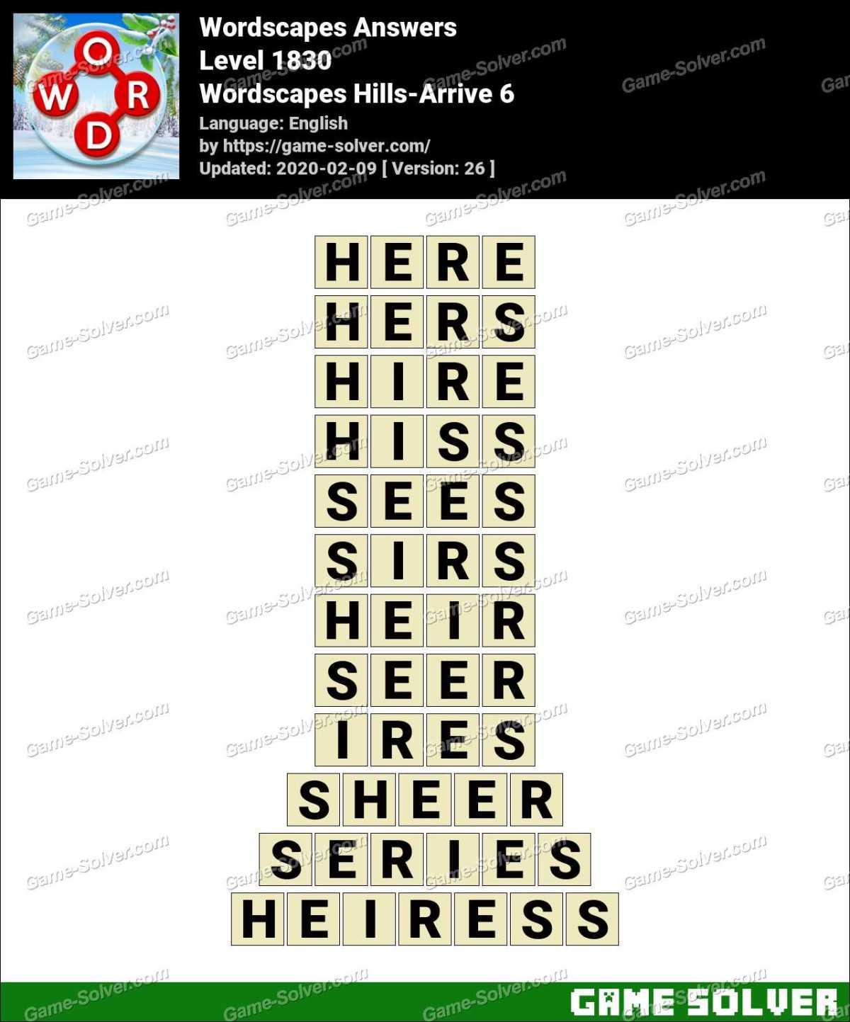 Wordscapes Hills-Arrive 6 Answers