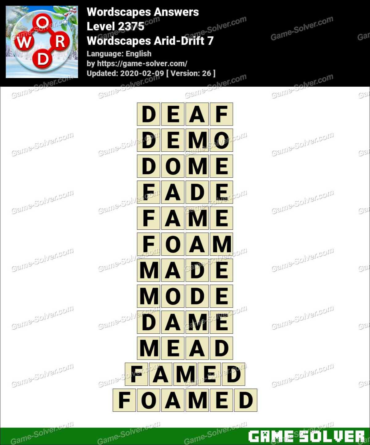 Wordscapes Arid-Drift 7 Answers