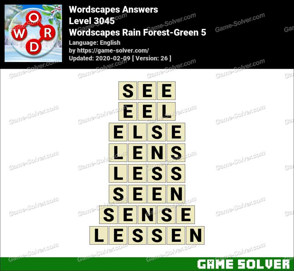 Wordscapes Rain Forest-Green 5 Answers • Game Solver