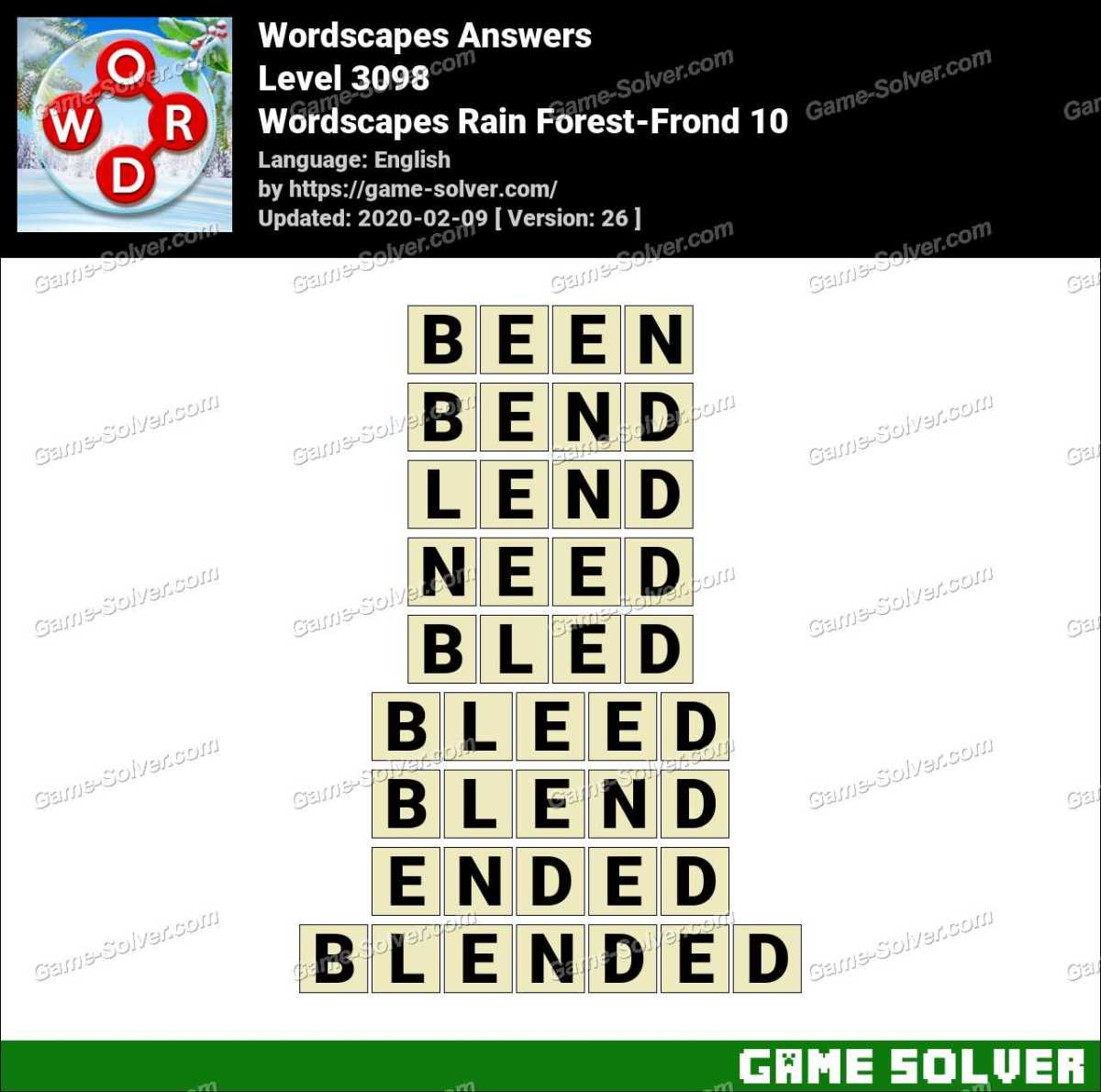 Wordscapes Rain Forest-Frond 10 Answers