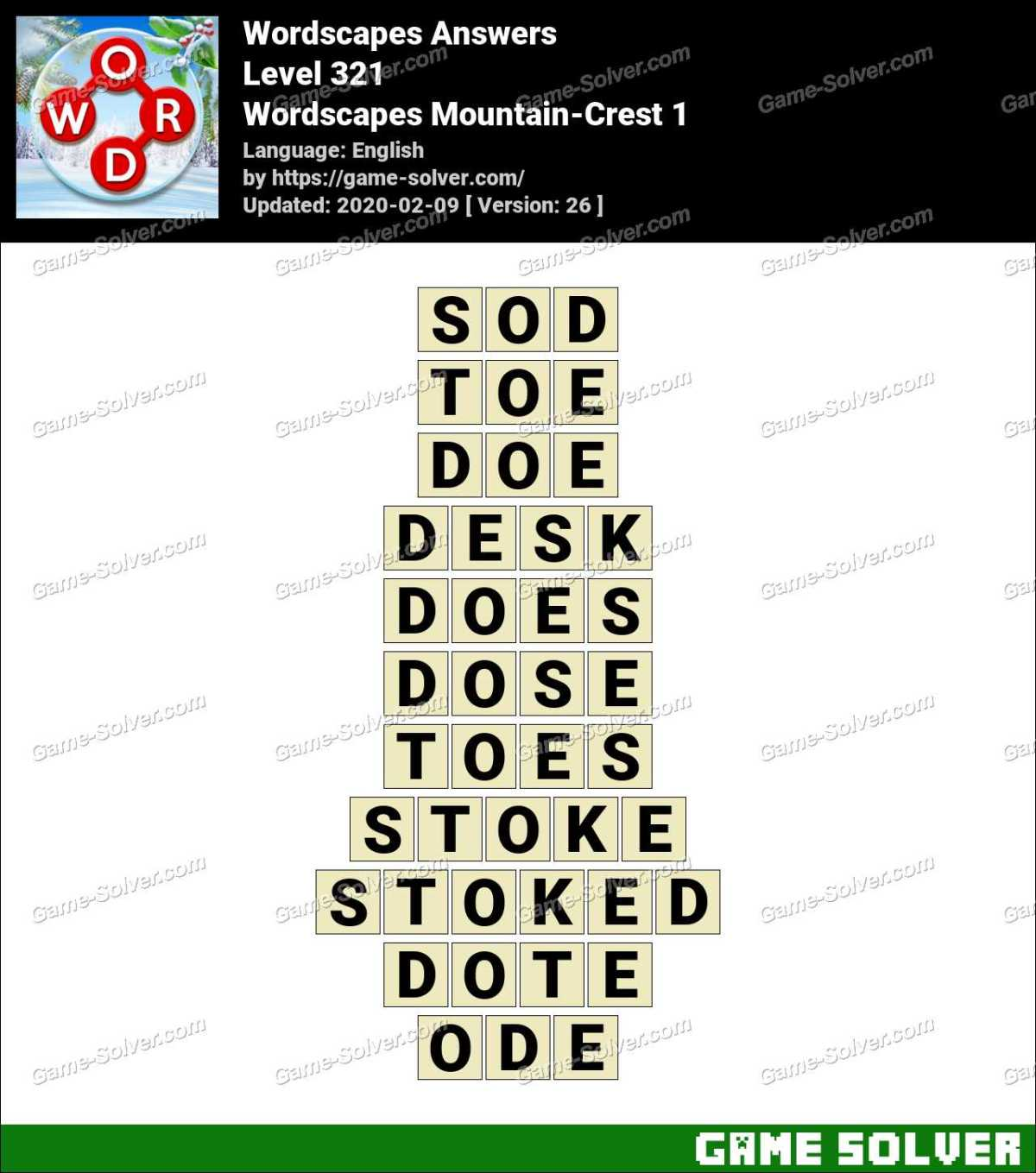 Wordscapes Mountain-Crest 1 Answers