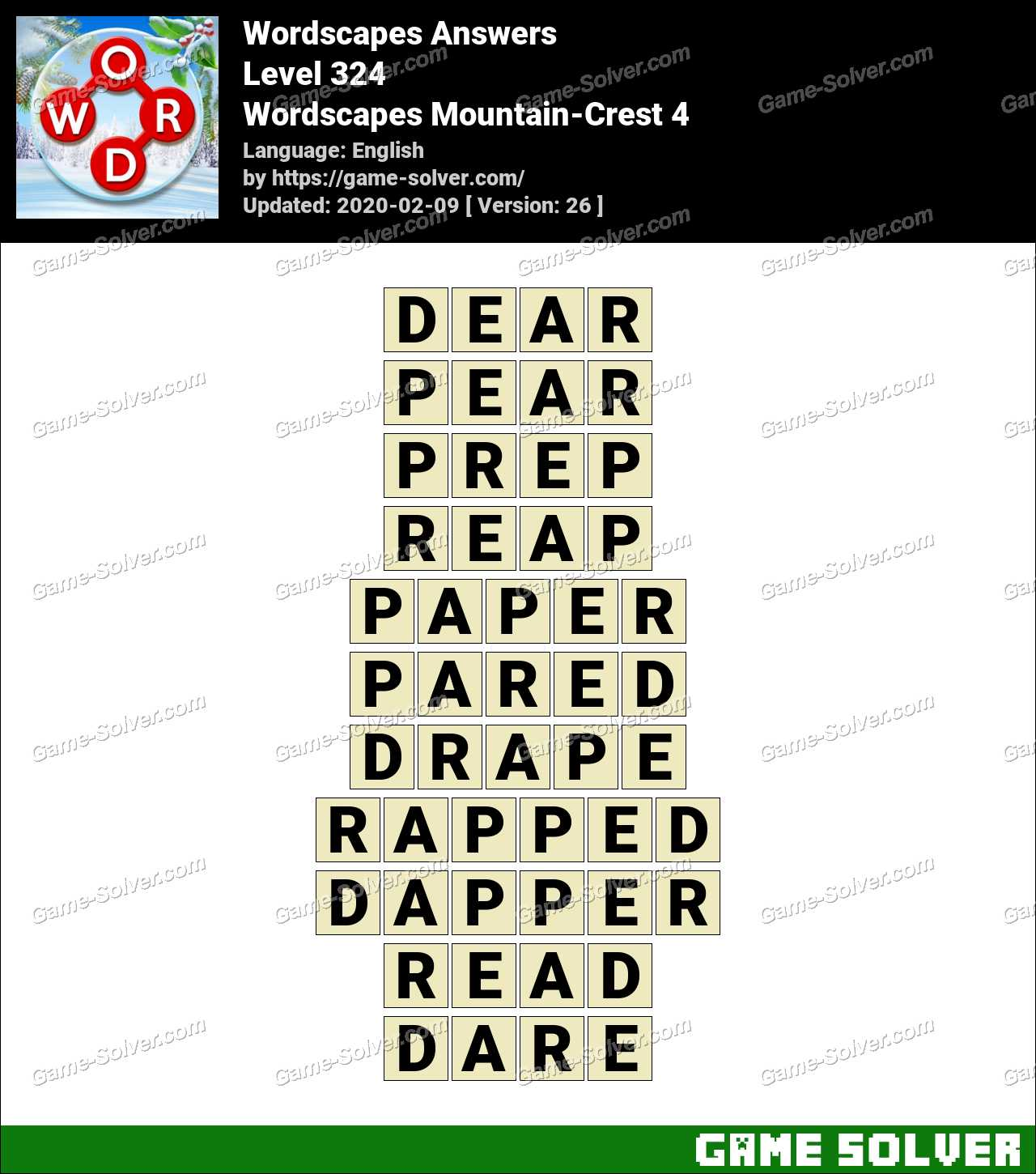 Wordscapes Mountain-Crest 4 Answers