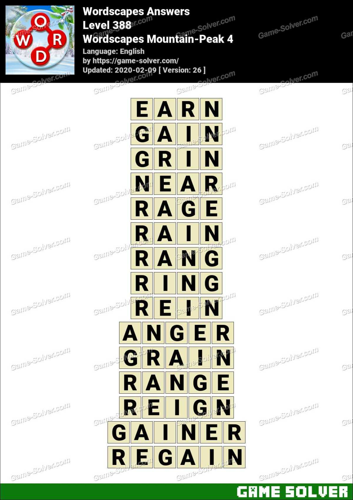 Wordscapes Mountain-Peak 4 Answers