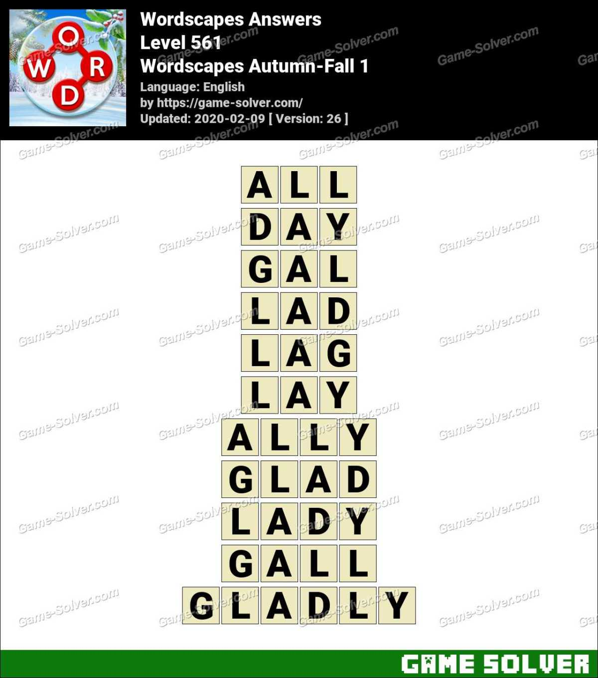Wordscapes Autumn-Fall 1 Answers