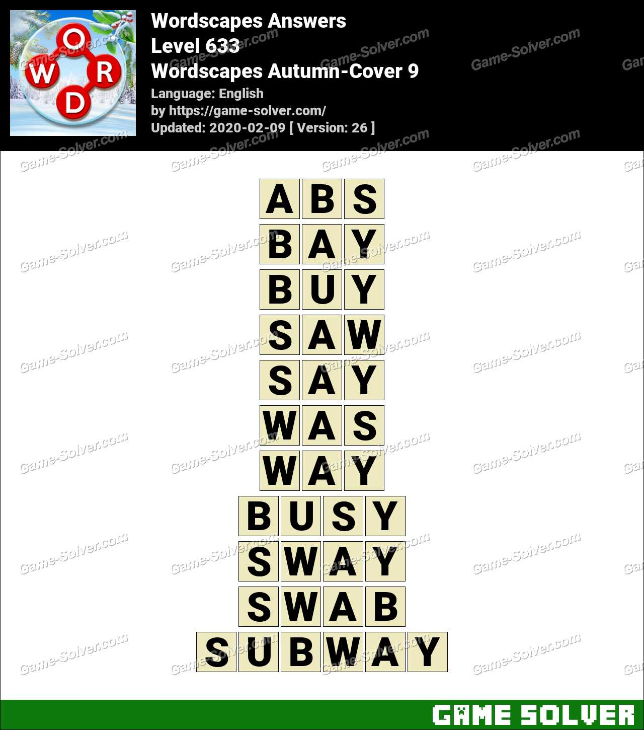 Wordscapes Autumn-Cover 9 Answers - Game Solver