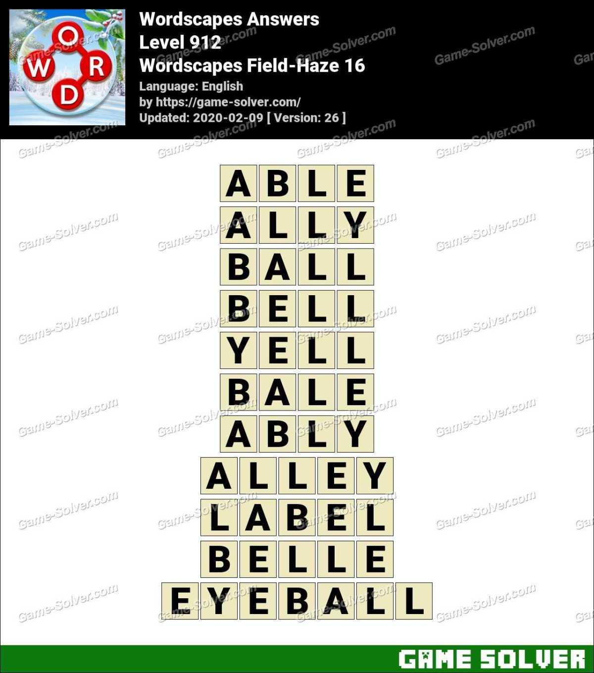 Wordscapes Field-Haze 16 Answers