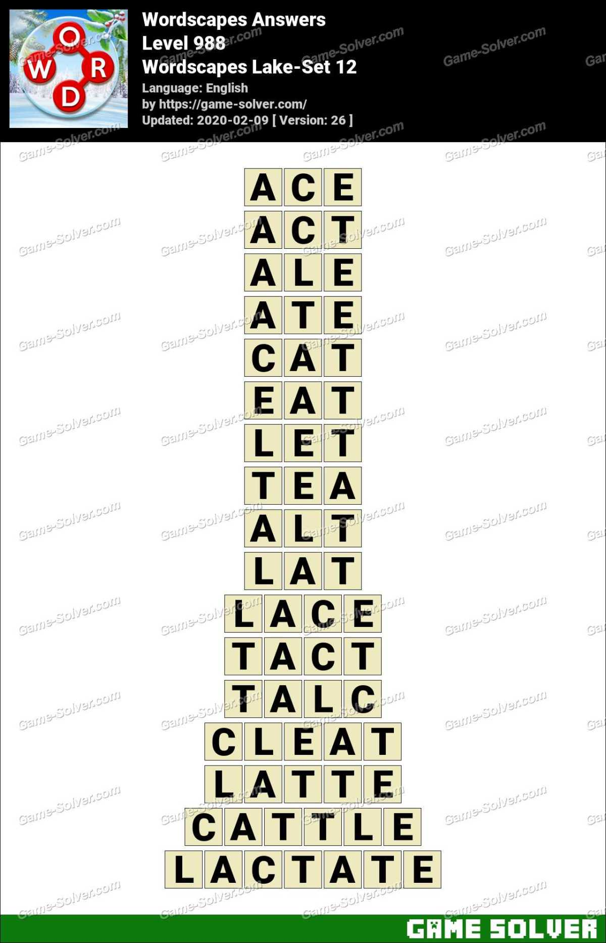 Wordscapes Lake-Set 12 Answers