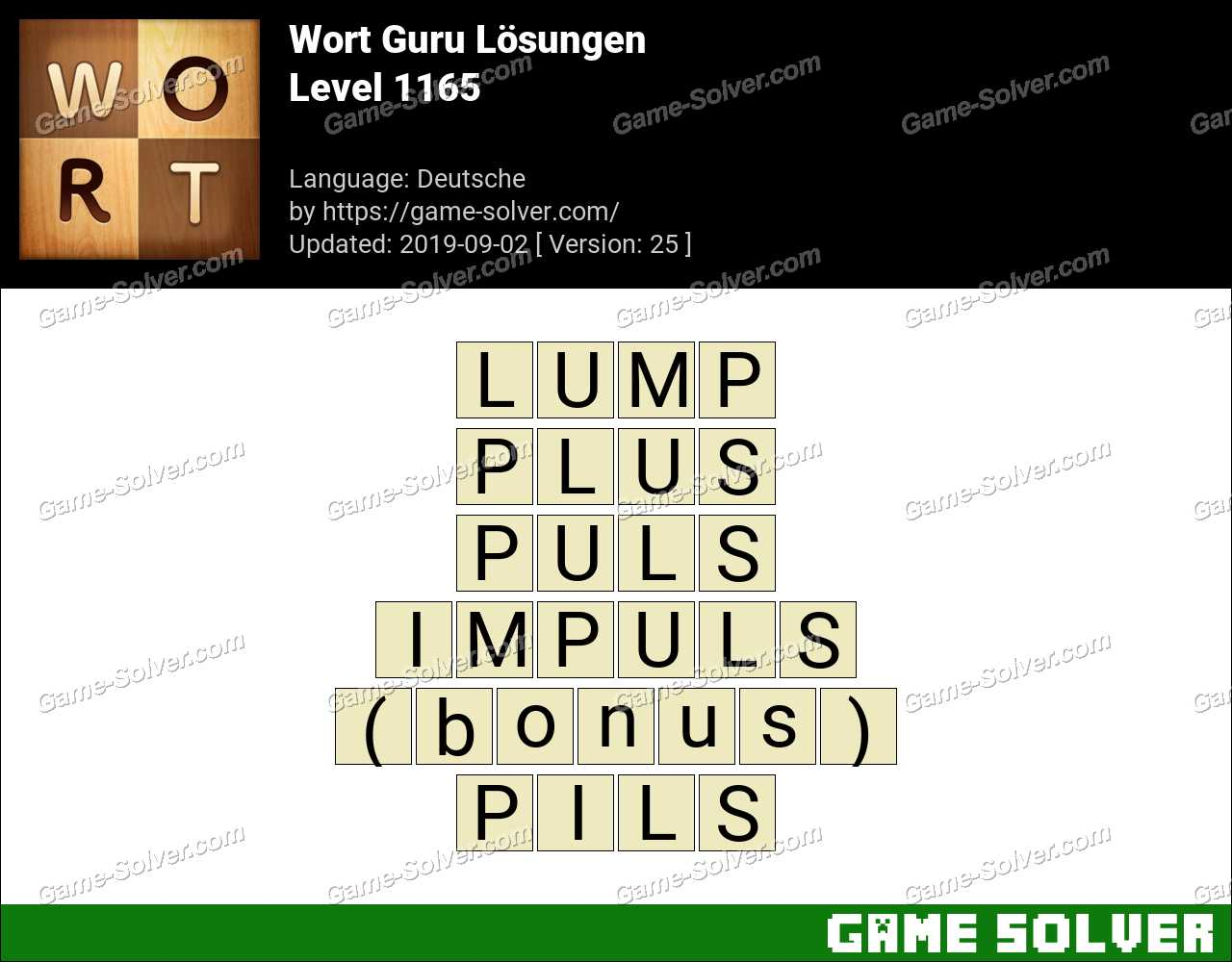 Wort Guru Level 1165 Lösungen