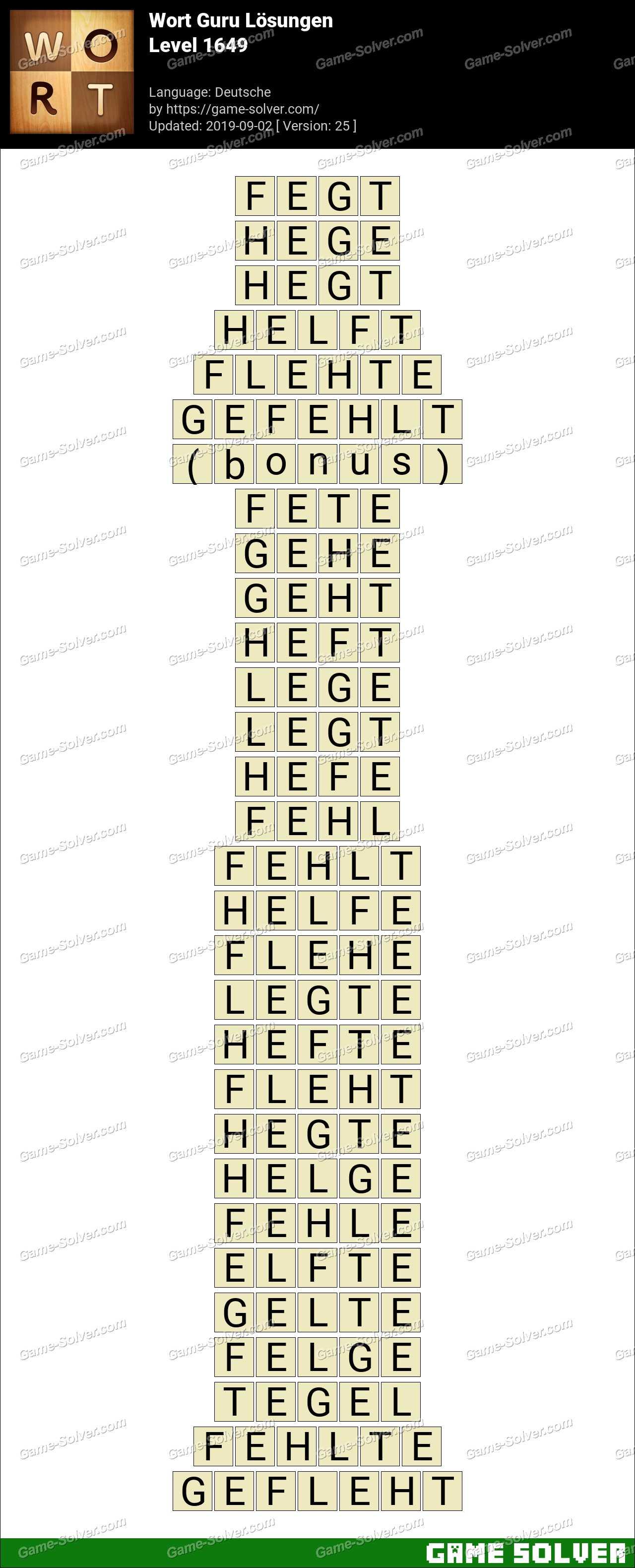 Wort Guru Level 1649 Lösungen