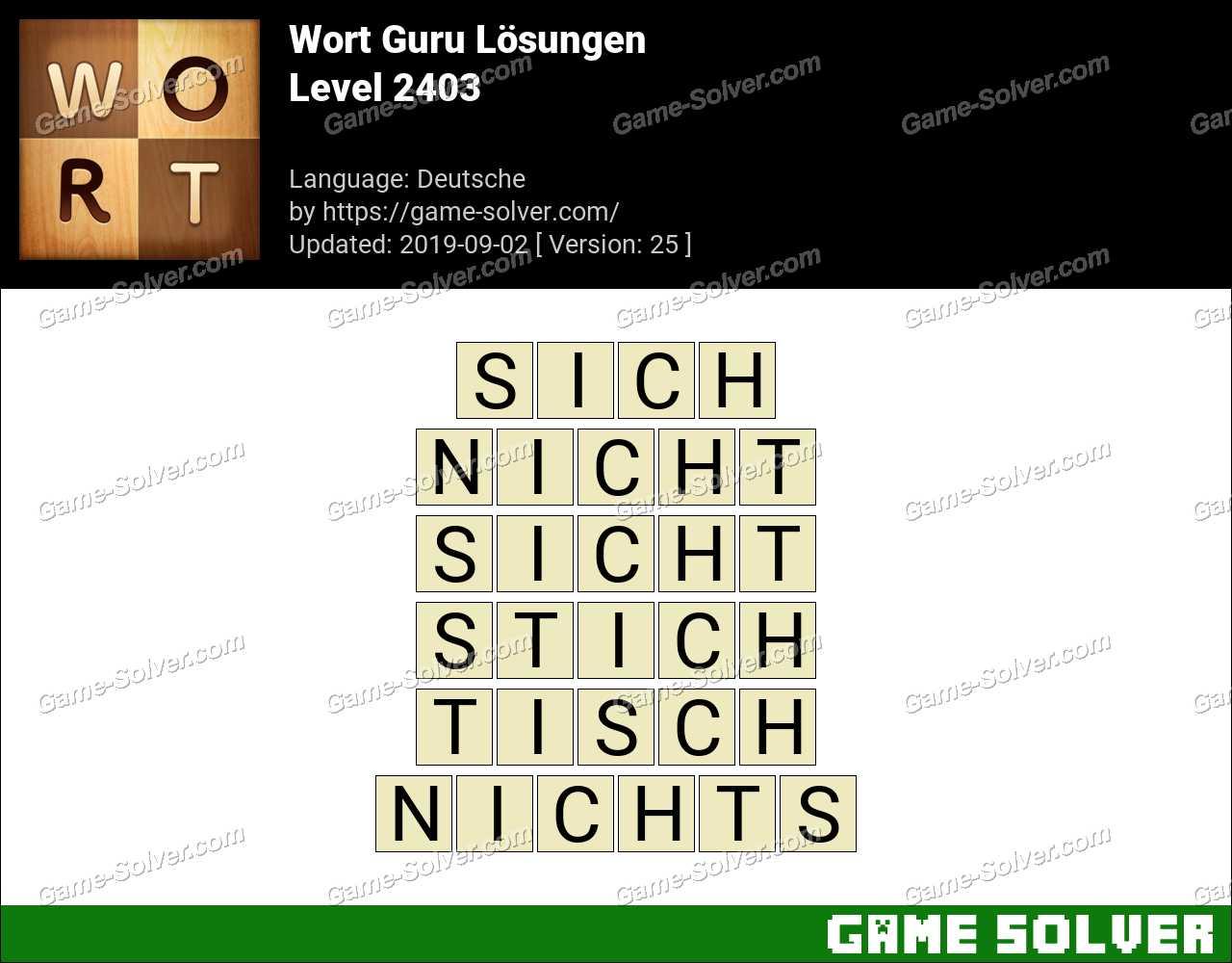 Wort Guru Level 2403 Lösungen