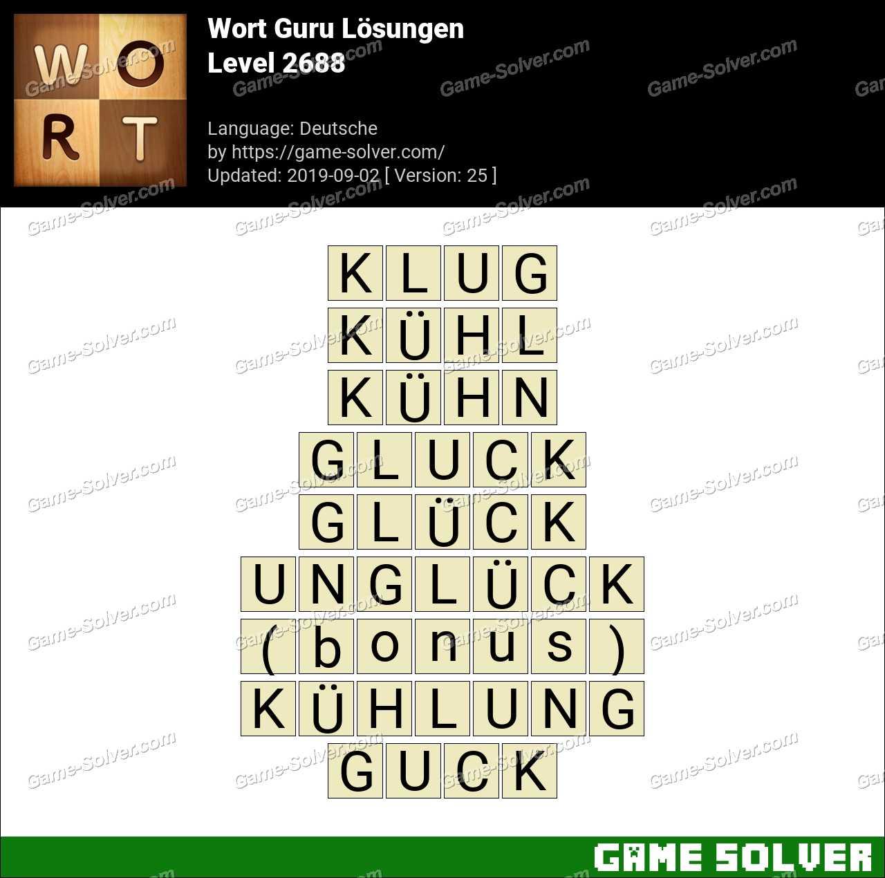 Wort Guru Level 2688 Lösungen