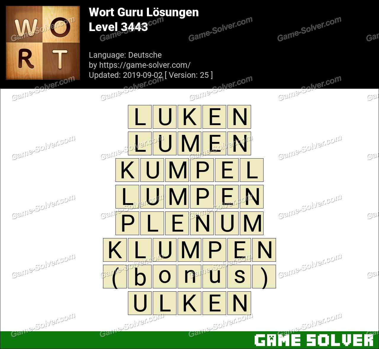 Wort Guru Level 3443 Lösungen