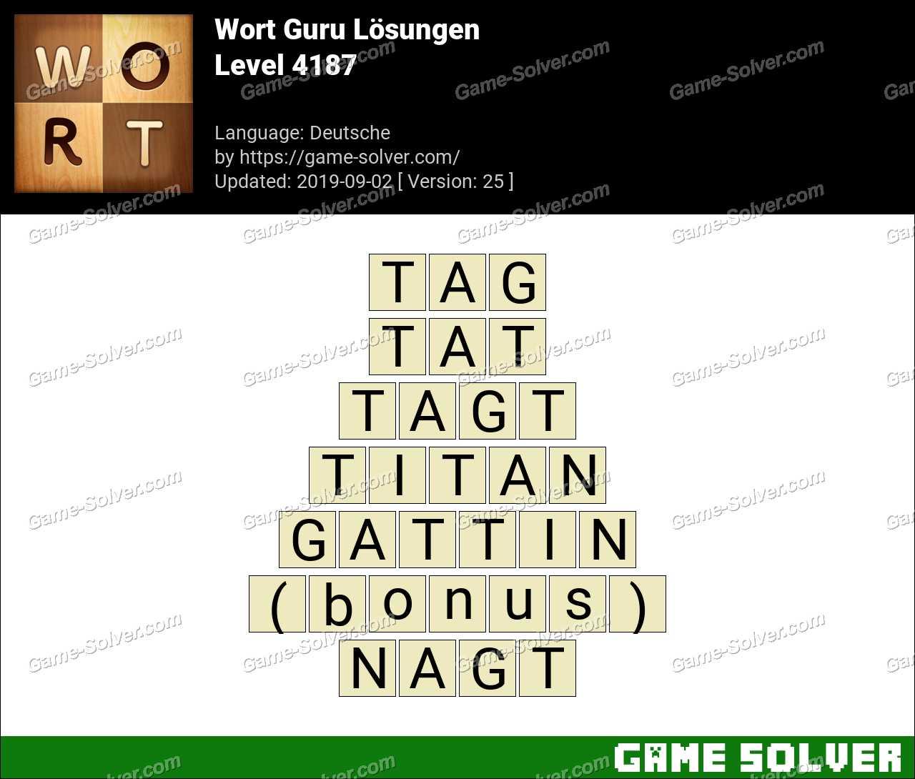 Wort Guru Level 4187 Lösungen