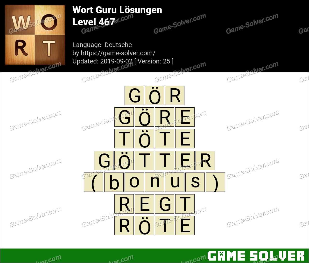 Wort Guru Level 467 Lösungen