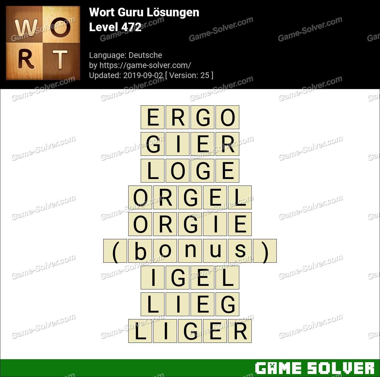 Wort Guru Level 472 Lösungen