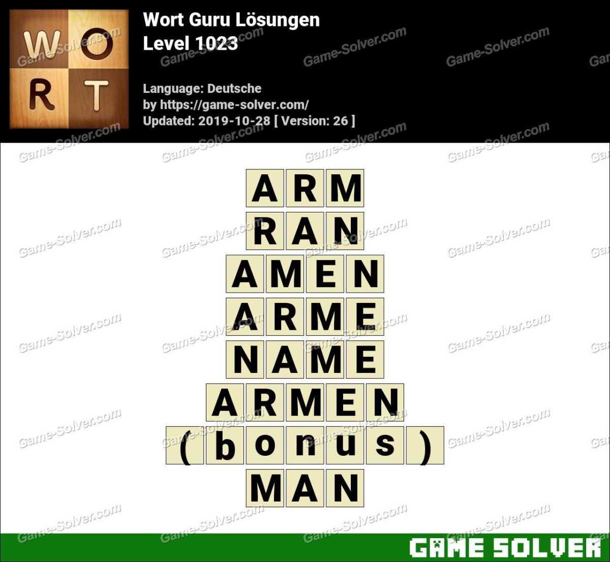 Wort Guru Level 1023 Lösungen