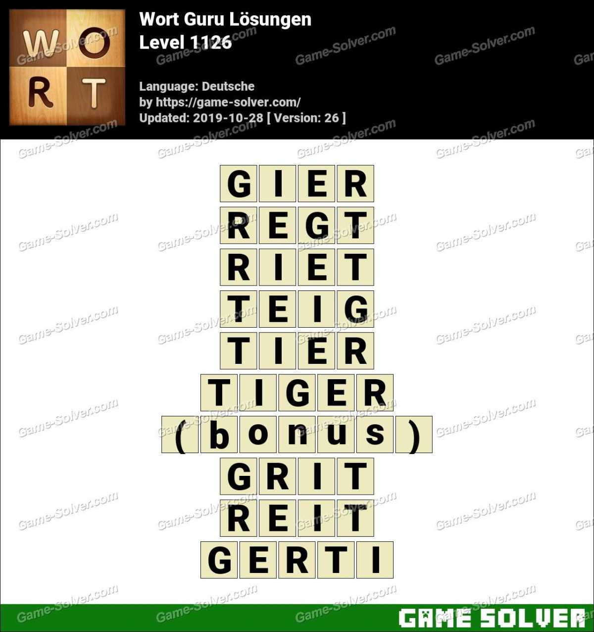 Wort Guru Level 1126 Lösungen