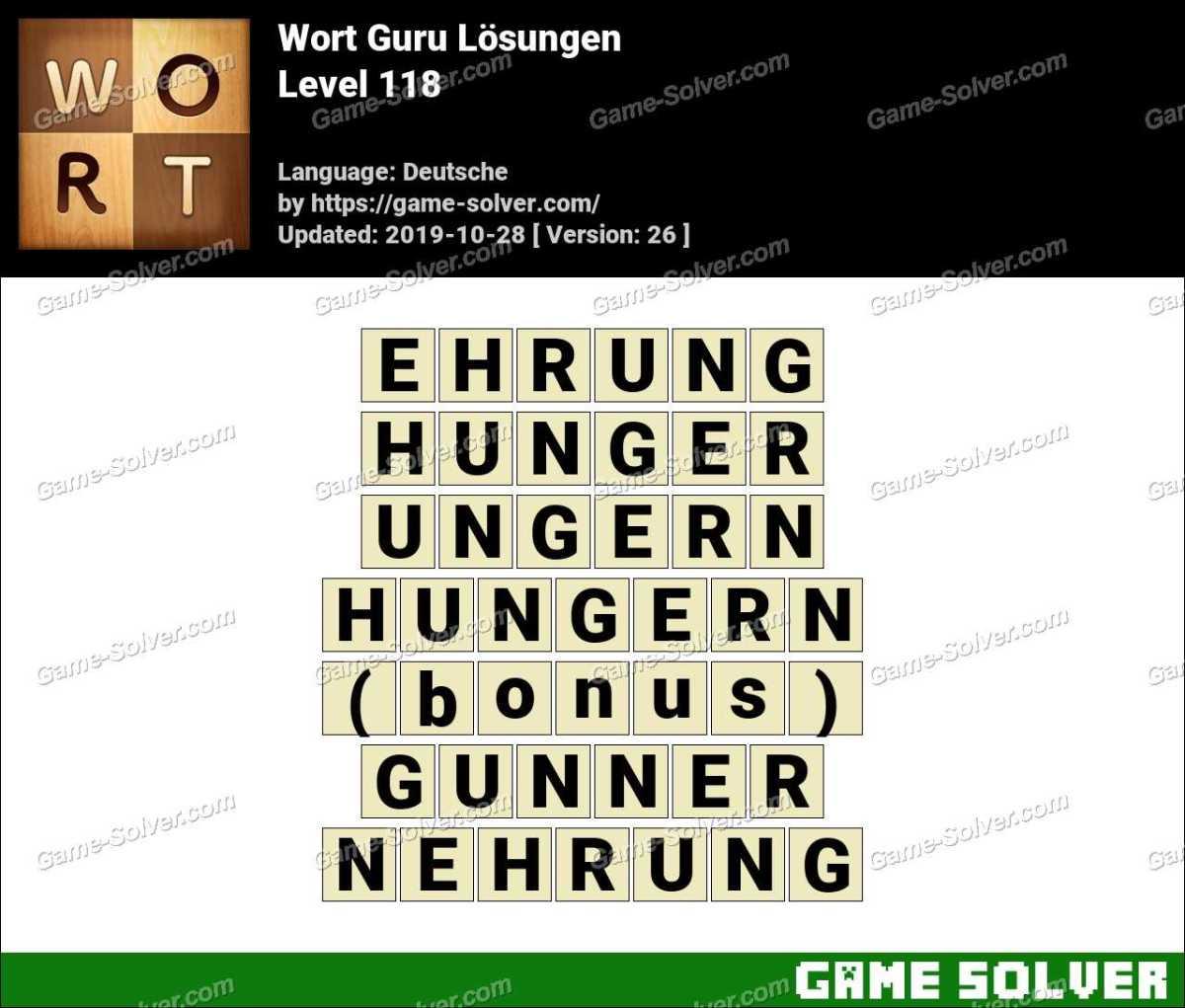 Wort Guru Level 118 Lösungen