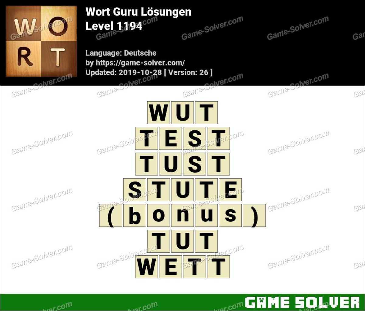 Wort Guru Level 1194 Lösungen