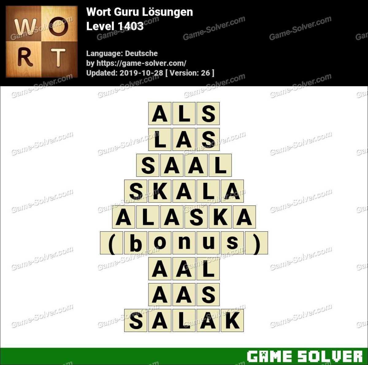 Wort Guru Level 1403 Lösungen