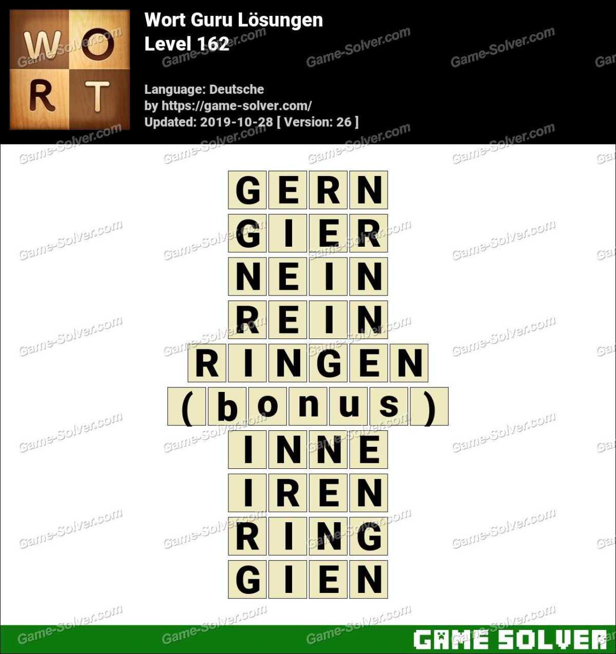 Wort Guru Level 162 Lösungen