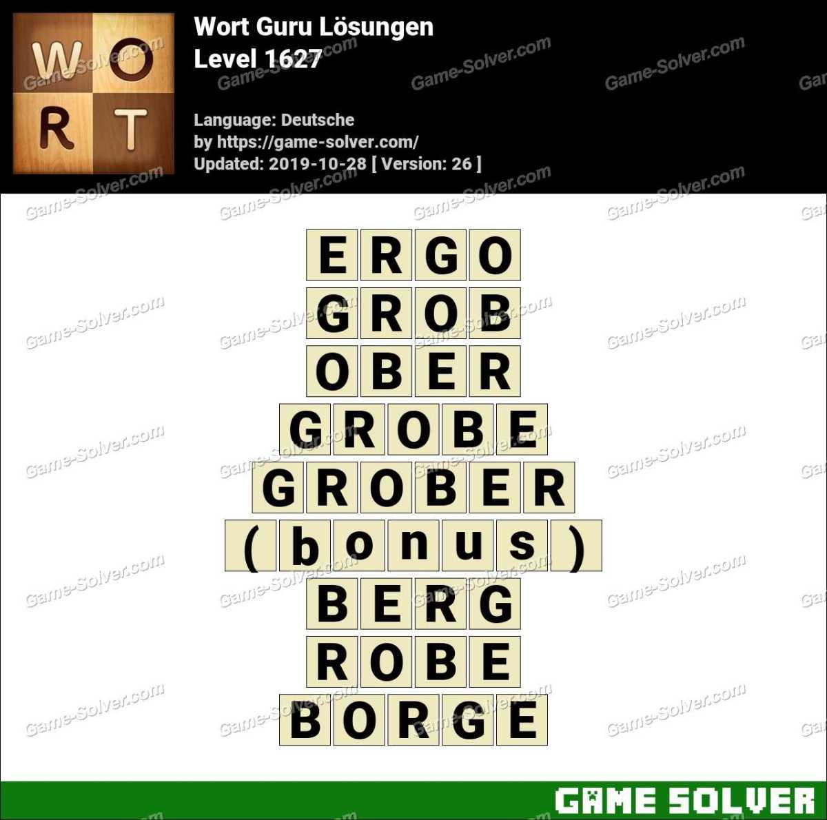 Wort Guru Level 1627 Lösungen